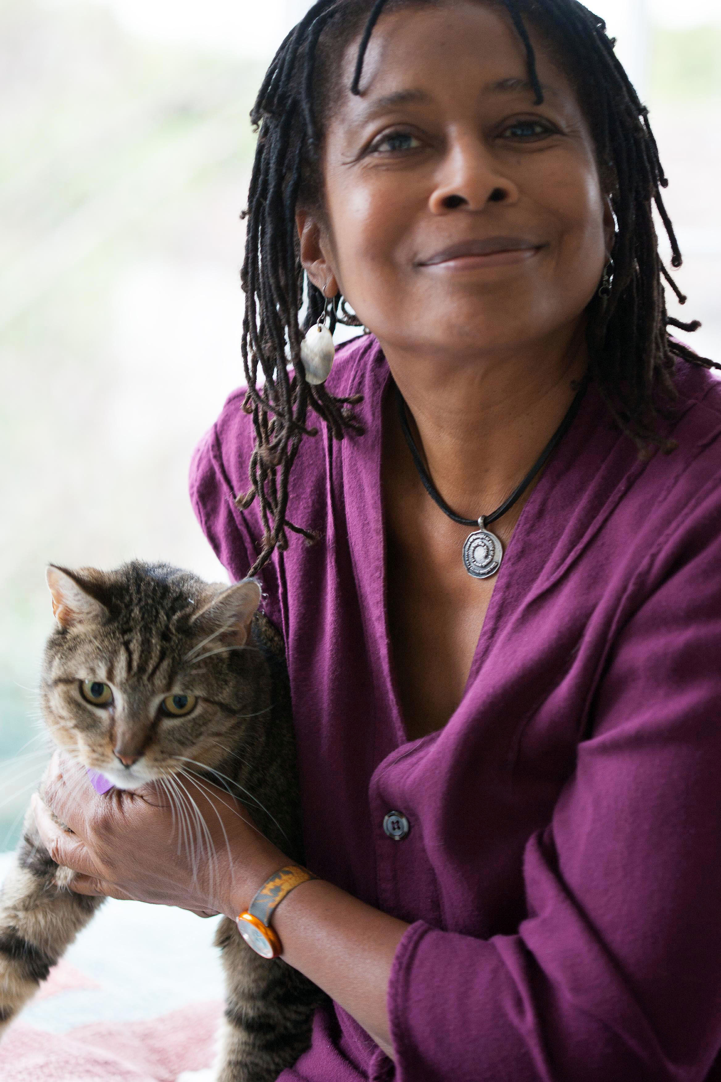 Alice Walker and one of her cats from Writers and their Cats