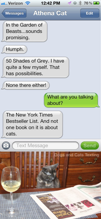 Text from Cat: Why are there no books about cats on the bestseller list?