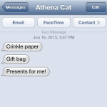 Text from Cat: Athena's Present