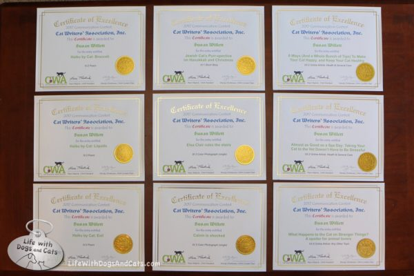 Life with Dogs and Cats is honored to receive 9 CWA Certificates of Excellence.
