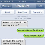 Text from cat: Clothes Call