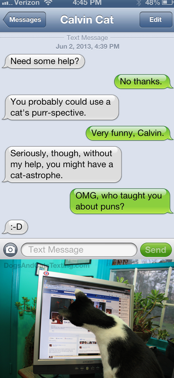 text from cat cat alog of puns   life with dogs and cats