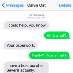 Text from Cat: Helping with the paperwork