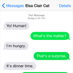 Text from Cat: Dinner is late
