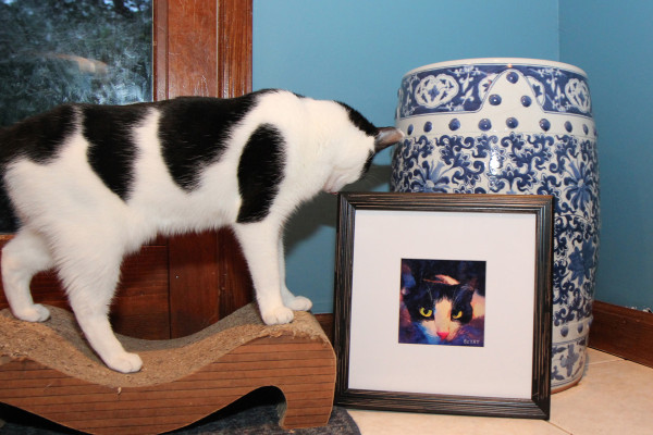 Elsa Clair the cat looks at the portrait of Calvin by BZTAT