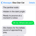 Text from cat: Hidden in the dark jungle, the panther waits