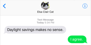 Text from Cat: Cat Standard Time
