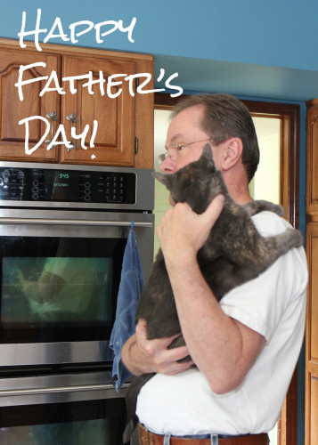 Happy Father's Day card: man with cat