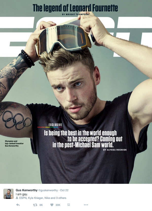 Gus Kenworthy gay comes out in ESPN interview Twitter
