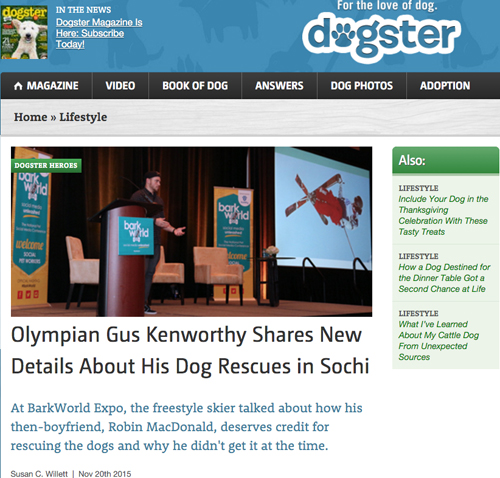 Gus Kenworthy story on Dogster  Susan C Willett
