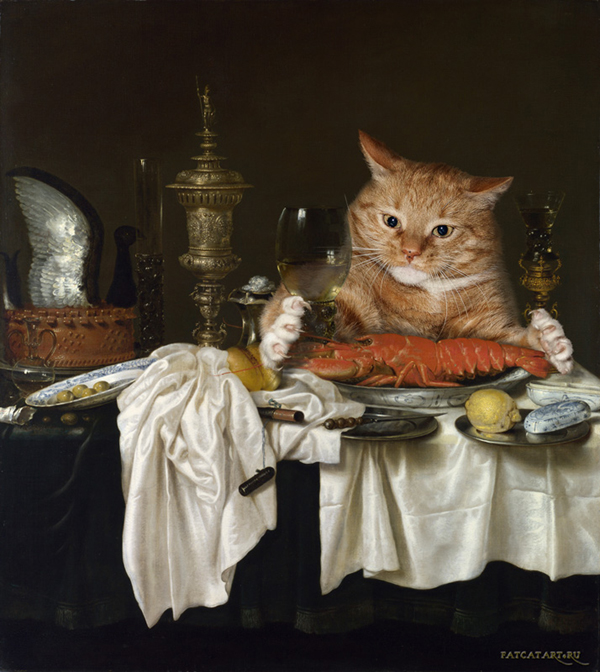 Zarathustra Fat Cat Art with Willem Claeszoon Heda Still Life with a Lobster