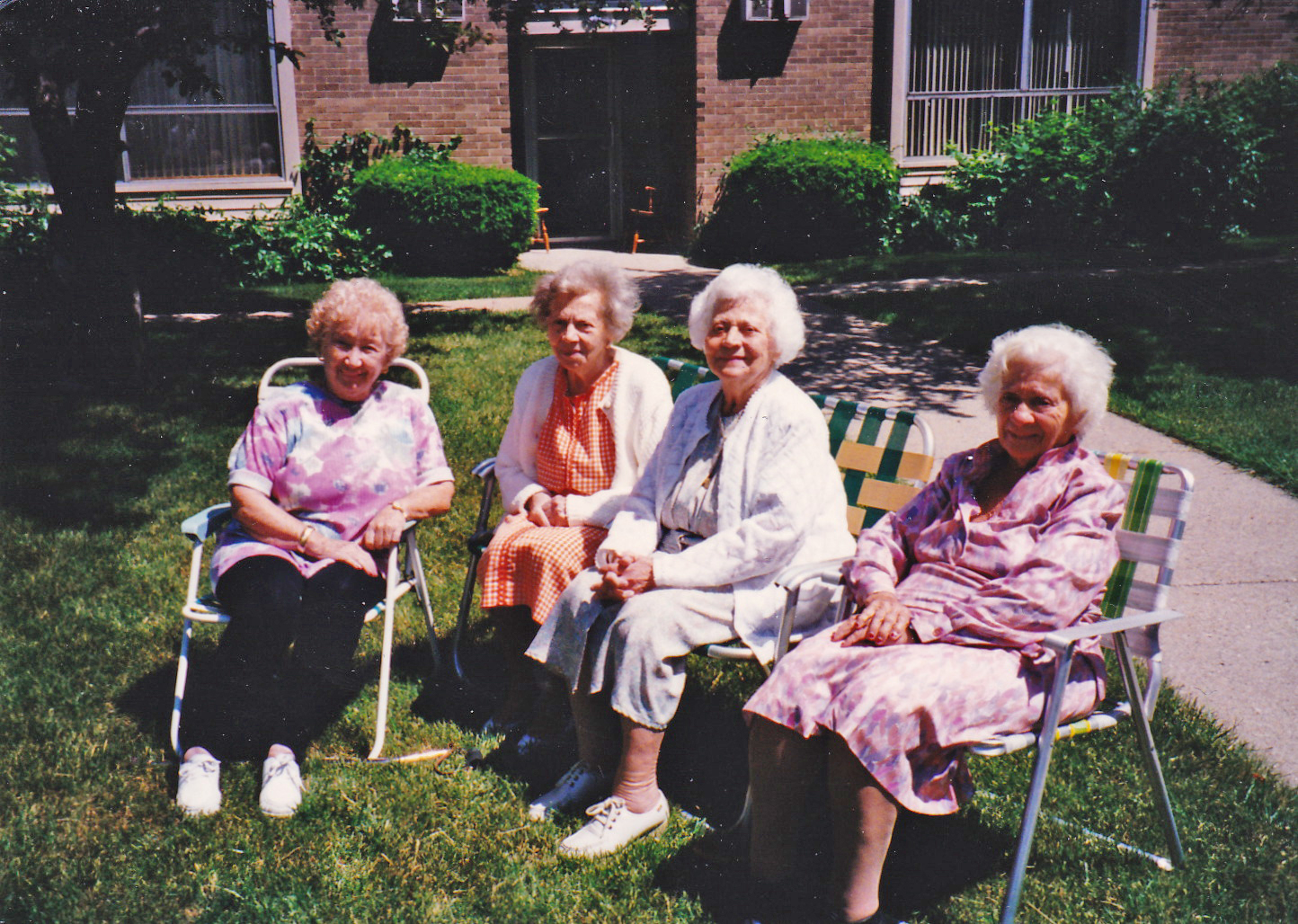 The four sisters, outside my grandmother's apartment: Helen, Gussie, Rose and Bessie.