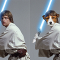 Dogs of Star Wars Jack Russell as Luke Skywalker dogster logo