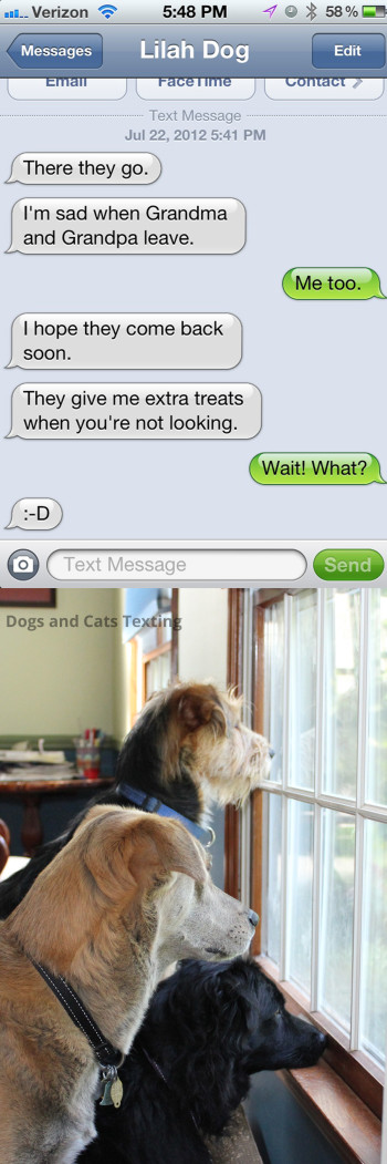 Text from Dog: I'm sad when Grandma and Grandpa leave. They give us treats when you're not looking.