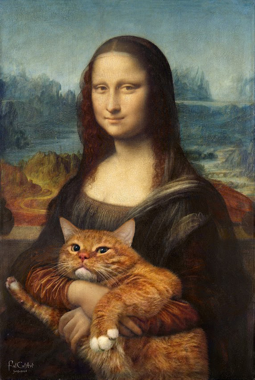 Leonardo da Vinci Mona Lisa fat cat art