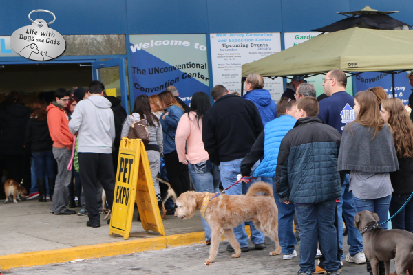 The line at the Edison Super Pet Expo was filled with two and four-legged attendees.