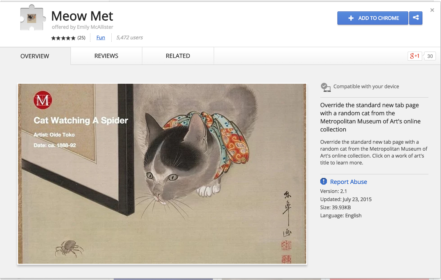 Google Chrome Extension Meow Met
