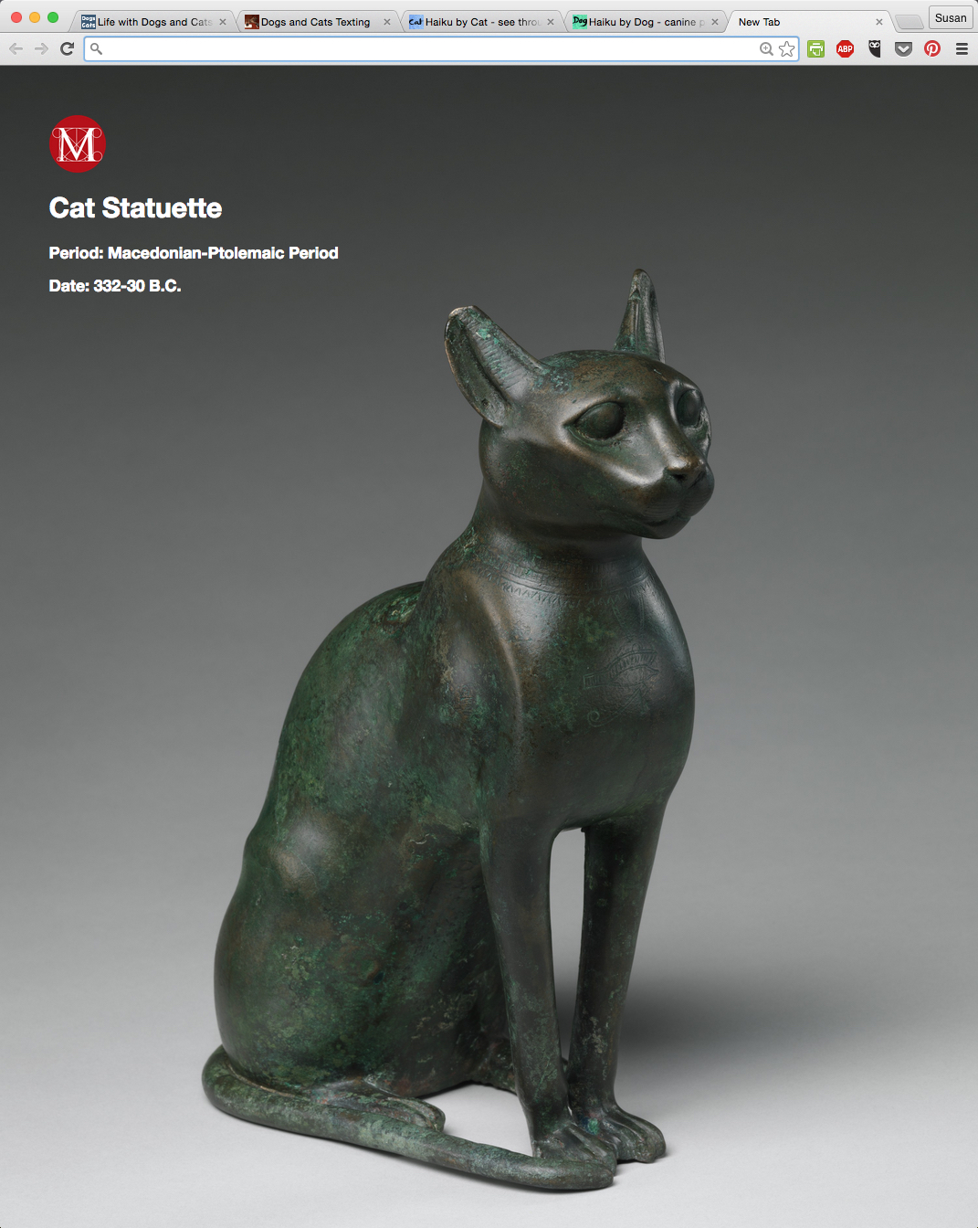 Cat Statuette / Macedonian-Ptolemaic Period from Meow Met Chrome Extension.