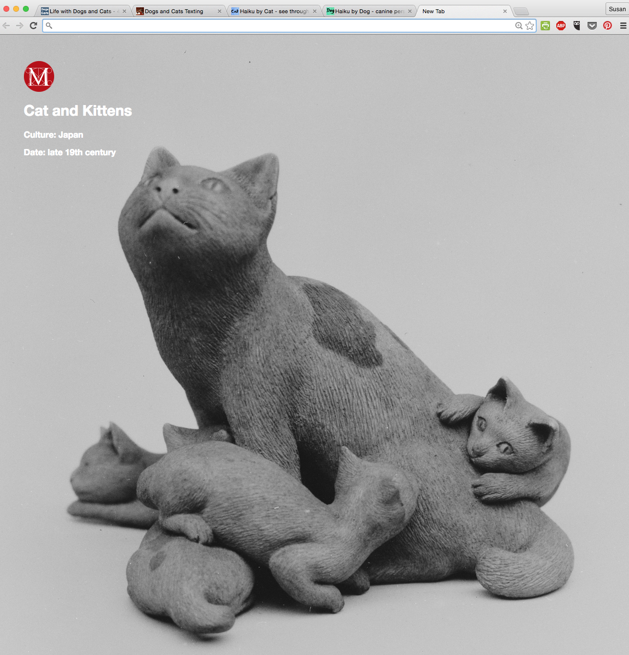 Mew Met Chrome extension Cat and Kittens  sculpture 19th century Japan