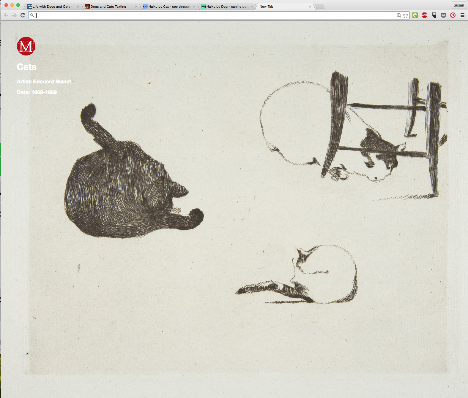 Cats by Edouard Manet from Meow Met Chrome Extension.