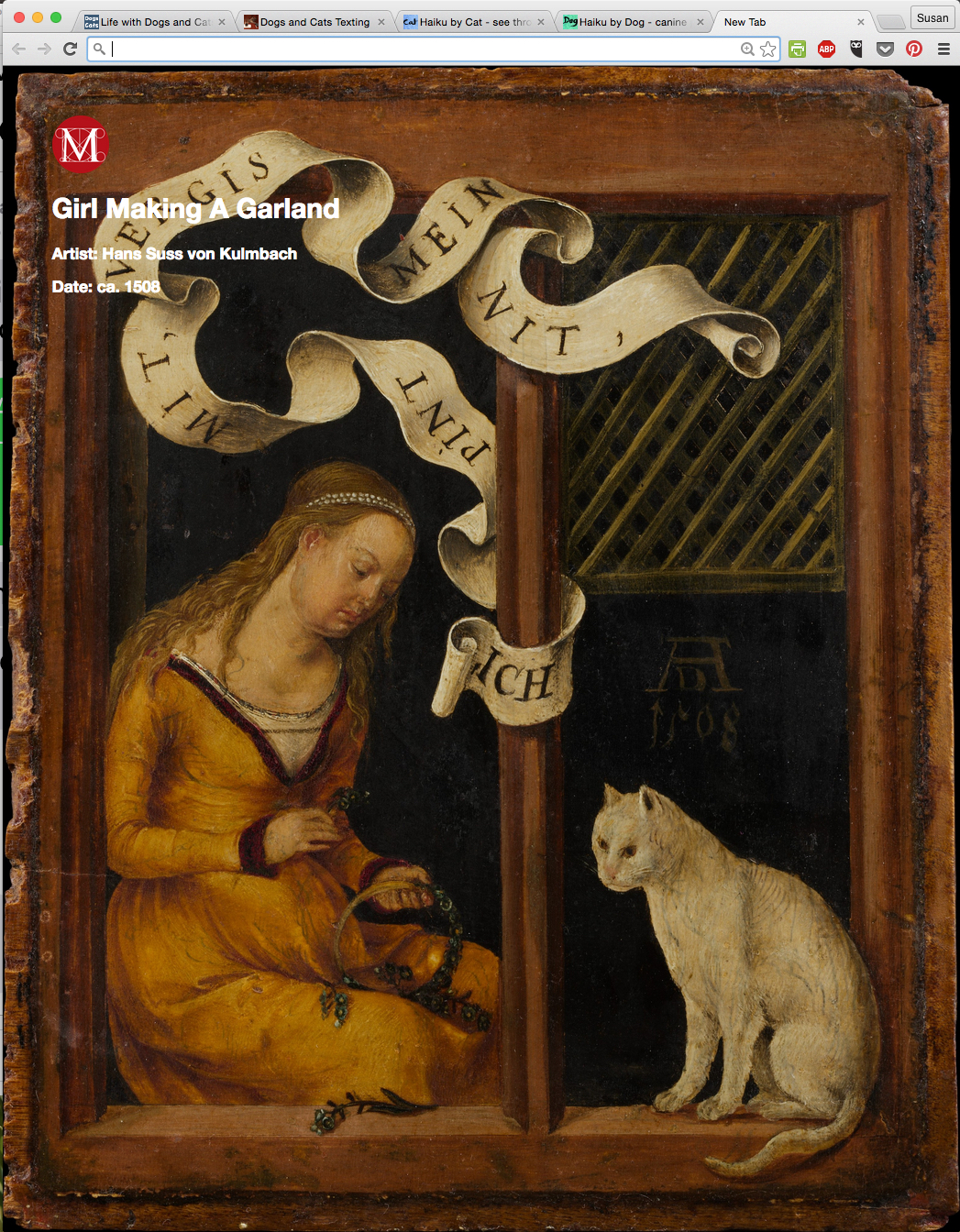 Girl Making a Garland by Hans Suss von Kulmbach from Meow Met Chrome Extension.