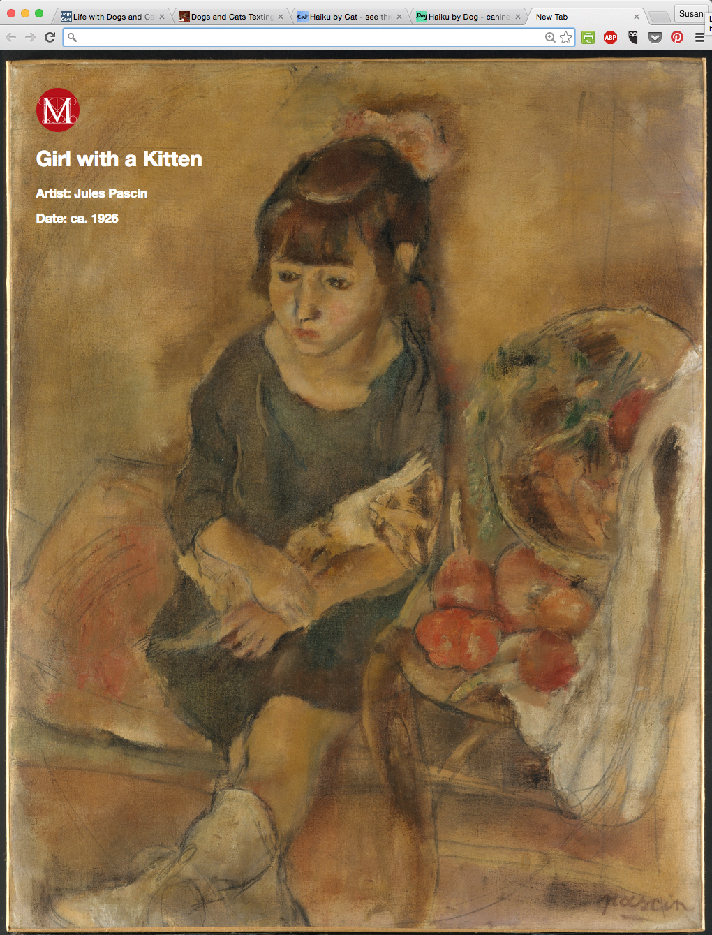 Mew Met Chrome extension Girl with Kitten by Jules Pascin