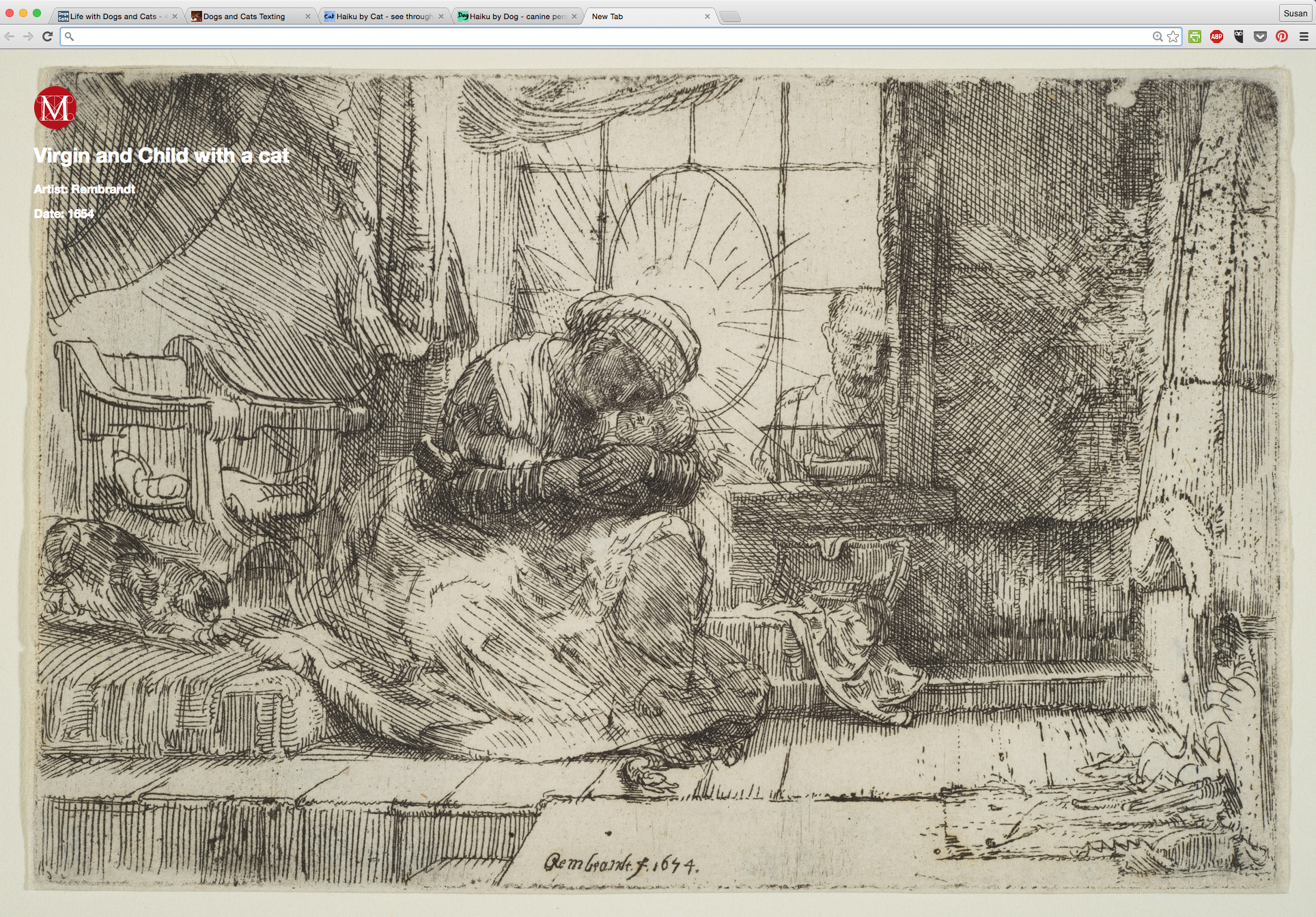 Virgin and Child with a cat by Rembrandt from Meow Met Chrome Extension.