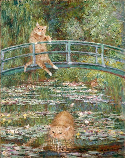 Fat Cat Art Claude Monet's Bridge Over a Pond of Water Lilies