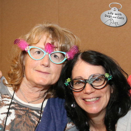 Marci Kladnik -- president of the Cat Writers' Association -- and I sport cat glasses we made at the Cat Style Lounge by Hauspanther.