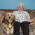 My mom with Tucker, Jasper and Lilah