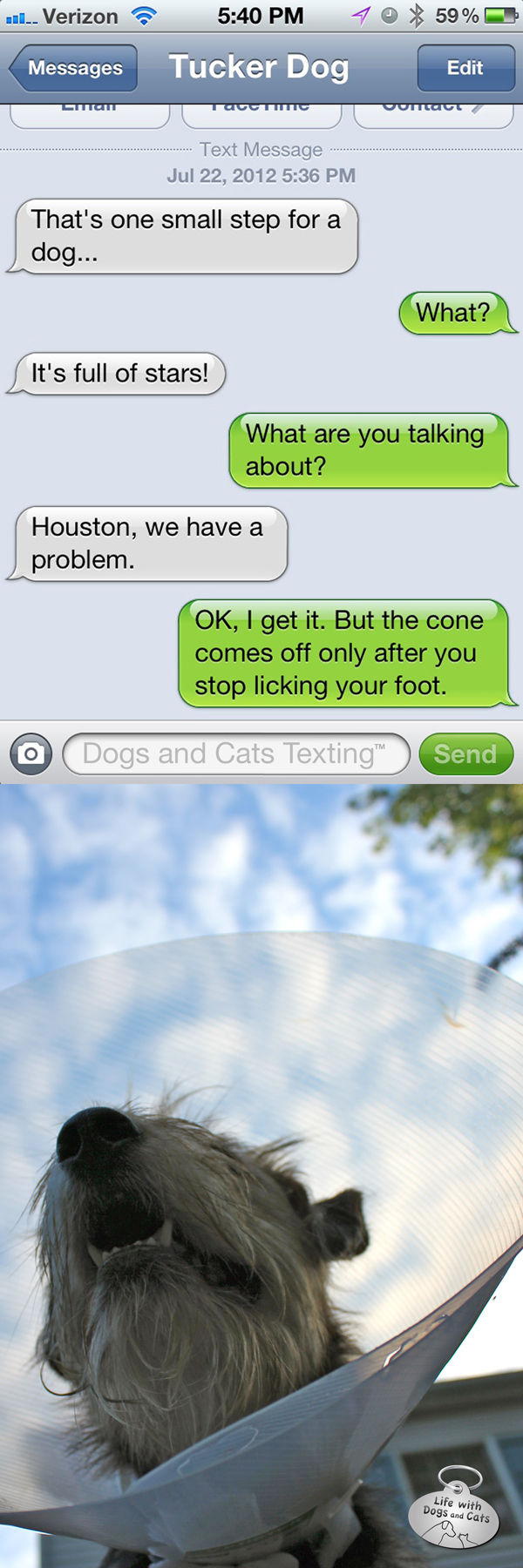 Text from Dog: Houston, we have a problem