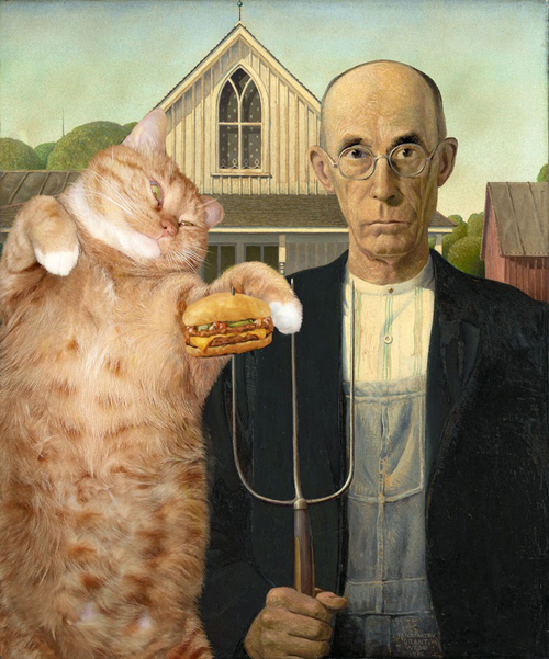 American Gothic Fat Cat Art