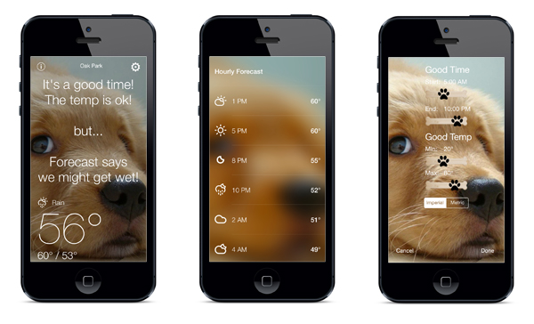 Weather to Walk Your Dog app