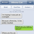 Text from cat: It must be an oversight. Where are the cat pictures?