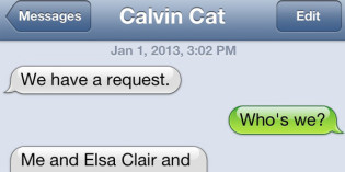 Text from Cat: A request