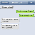 Text from Cat: Disgruntled customer