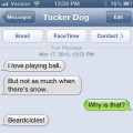Text from Dog: I love playing ball but not in the snow: Beardcicles!