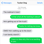 Text from Dog: The mailman's here!