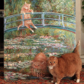 Zarathustra Fat Cat Art poses with Monet painting